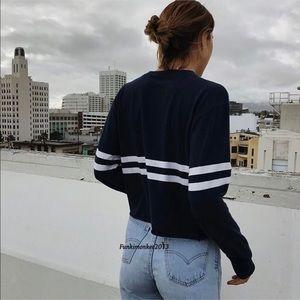 Brandy Melville Navy Blue Striped Knit Sweater